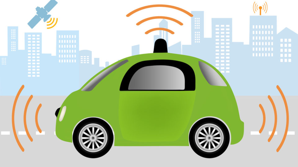 Autonomous Driverless Car. Intelligent controlled car, smart navigation.Automobile sensors use in self-driving cars .