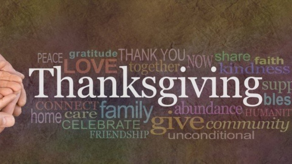 Thanksgiving Word Cloud Website Banner – Female cupped hands cradled by male hands outstretched with a white 'Thanksgiving' word floating above and relevant word cloud on a stone effect background