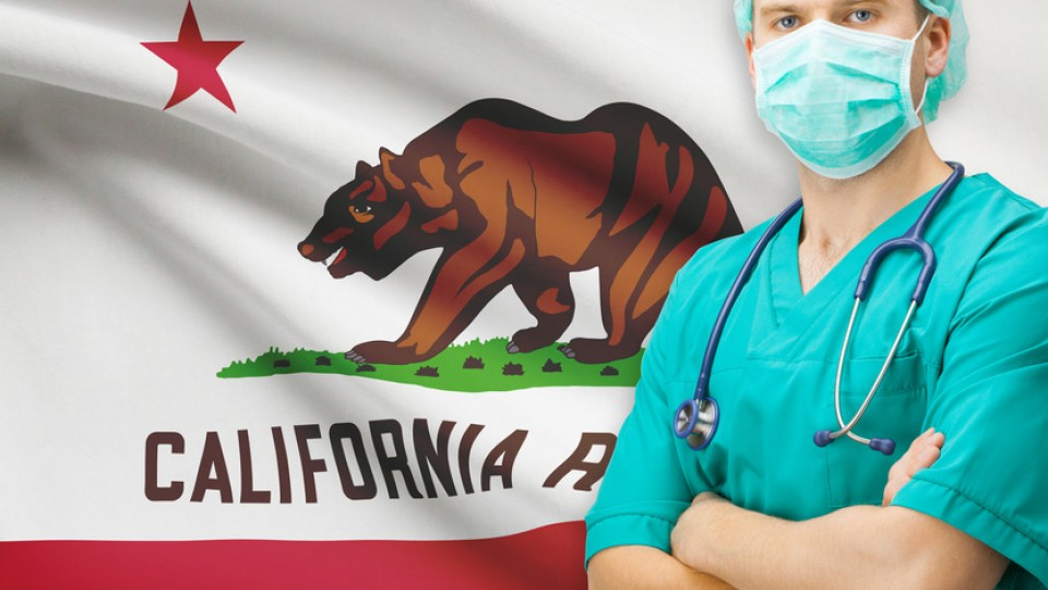 Surgeon with US state flag on background series – California